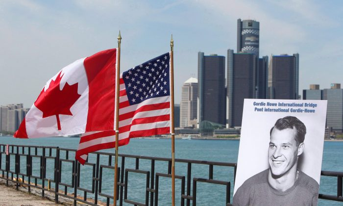 A view of the Detroit River International Crossing, to be named the Gordie Howe International Bridge, in Windsor, Ontario in this file photo. Aecon pulled out of the running to work on its construction due to potentially being bought by a Chinese state-owned enterprise. (The Canadian Press/Dave Chidley)