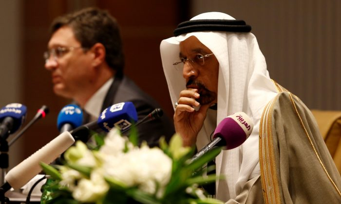 Saudi Energy Minister Khalid al-Falih and Russian Energy Minister Alexander Novak attend a news conference at the Ritz-Carlton hotel in Riyadh, Saudi Arabia Feb. 14, 2018. (Reuters/Faisal Al Nasser)