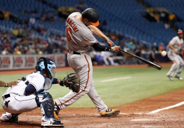 Baltimore Orioles Trey Mancini hits a 2-RBI double during the ninth inning against the Tampa Bay Rays.