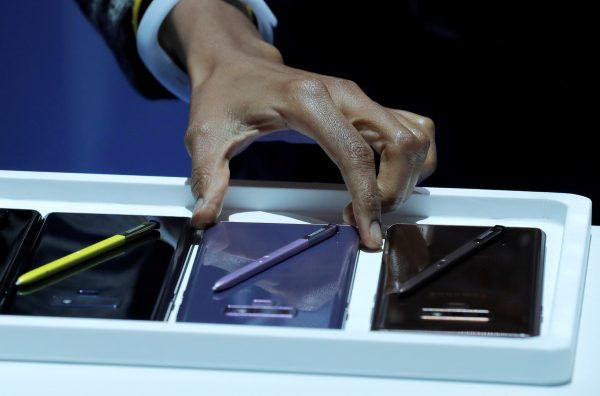 The new Samsung Galaxy Note 9 is seen displayed during a product launch event.