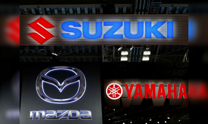 Logos of Mazda, Suzuki and Yamaha in file photos (Credits: Mazda, Kim Kyung-Hoon; Suzuki and Yamaha, Toru Hanai/Reuters)