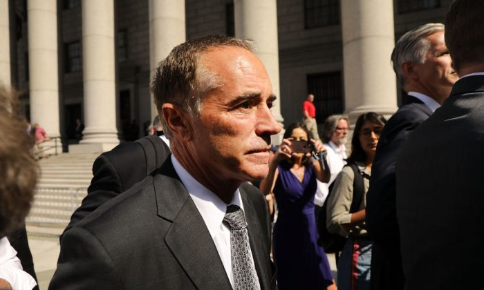 Rep. Chris Collins (R-NY) outside a New York court house after being charged with insider trading on Aug. 8, 2018 in New York City. (Spencer Platt/Getty Images)