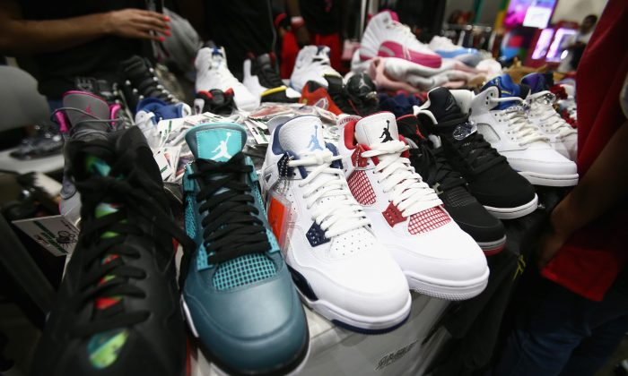 Air Jordan Sneakers on display at the 2018 BET Experience Fan Fest in Los Angeles on June 22, 2018. (Tommaso Boddi/Getty Images)