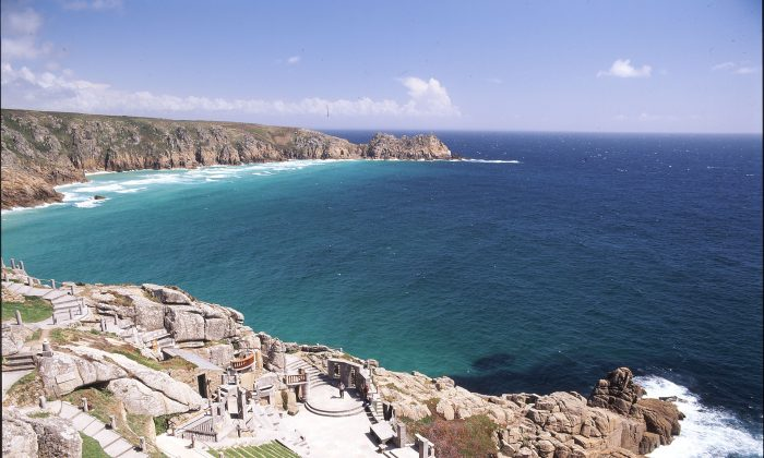 Terraced seating at The Minack Theatre looks over the stage below, and then beyond, out to the Atlantic Ocean. (The Minack Theatre)