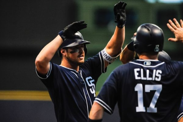 San Diego Padres left fielder Hunter Renfroe reacts with catcher A.J. Ellis and teammates after hitting a grand slam home run during the ninth inning against the Milwaukee Brewers.