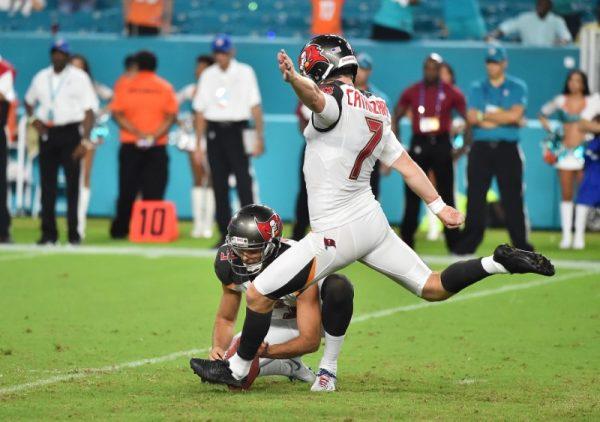 Tampa Bay Buccaneers kicker Chandler Catanzaro kicks the game winning field goal during the second half.