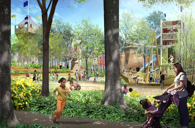 A rendering of the adventure playground. (Courtesy of Gathering Place)