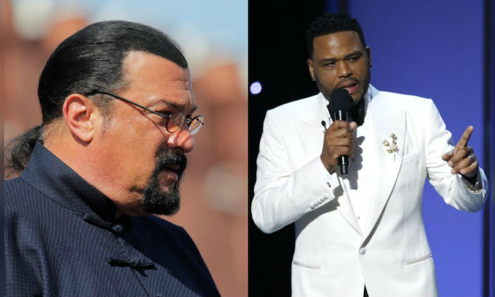 File photos: (L) Steven Seagal on May 9, 2018. (R) Anthony Anderson on Jan. 15, 2018. (Reuters/L: Maxim Shemetov/R: Mario Anzuoni)