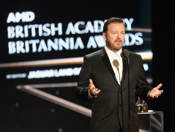 Comedian Ricky Gervais has spoken out against the conviction of Meechan. Gervais is pictured here accepting the Charlie Chaplin Britannia Award for Excellence in Comedy, during the 2016 AMD British Academy Britannia Awards, on October 28, 2016 in Beverly Hills, California. (Frederick M. Brown/Getty Images)