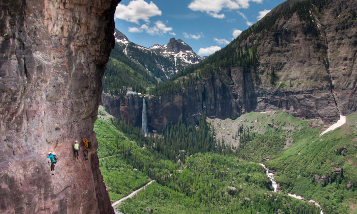 Telluride's Via Ferrata takes hikers across 600 feet of rocky façade and over a 300-foot drop. (Courtesy of The Hotel Telluride)