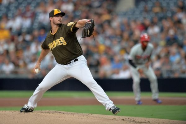 San Diego Padres starting pitcher Jacob Nix makes his Major League pitching debut in the first inning against the Philadelphia Phillies.