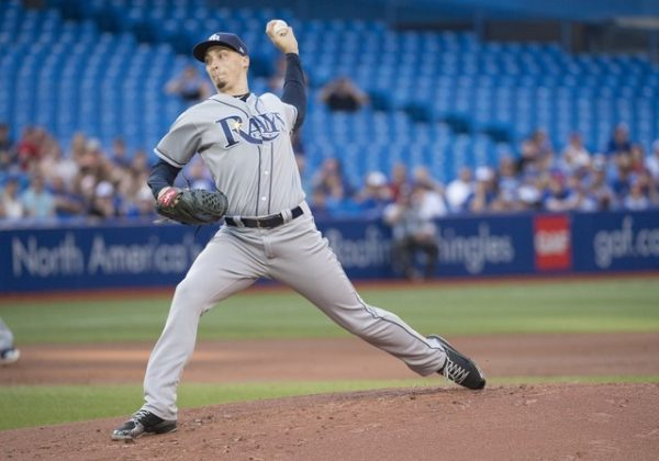 Tampa Bay Rays starting pitcher Blake Snell throws a pitch during the first inning against the Toronto Blue Jays.