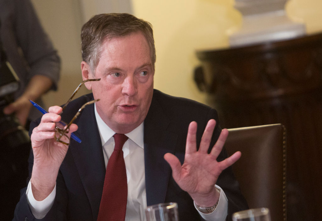 Robert Lighthizer speaks during a meeting on trade held by President Trump.