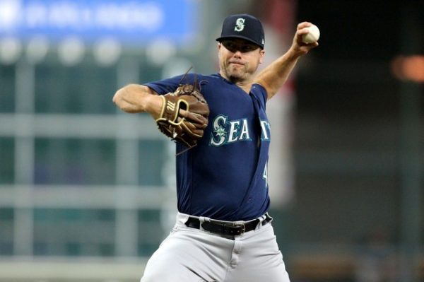Seattle Mariners relief pitcher Wade LeBlanc delivers a pitch against the Houston Astros during the first inning.