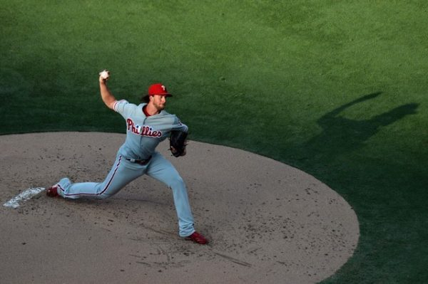 Philadelphia Phillies starting pitcher Aaron Nola pitches during the first inning against the San Diego Padres.