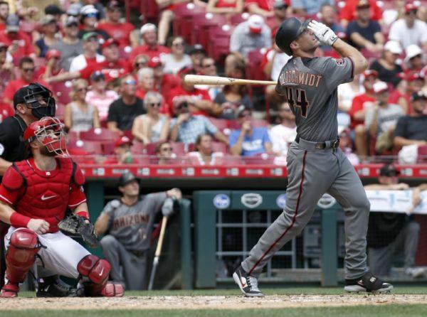 Arizona Diamondbacks first baseman Paul Goldschmidt hits a two-run home run against the Cincinnati Reds during the sixth inning.