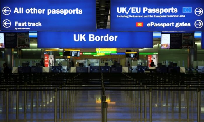 UK Border control in Terminal 2 at Heathrow Airport in London June 4, 2014. (/Neil Hall/Reuters/File Photo)