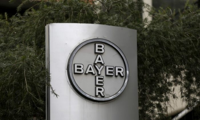 The corporate logo of Bayer is seen at the headquarters building in Caracas, Venezuela on March 1, 2016. (Marco Bello/Reuters)