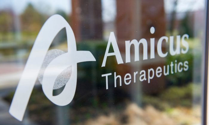 Amicus Therapeutics sign is shown in this image released on Aug. 13, 2018. (Reuters)