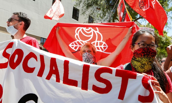 Democratic Socialists of America march in downtown Berkeley, Calif., on Aug. 5, 2018. (Amy Osborne/AFP/Getty Images)