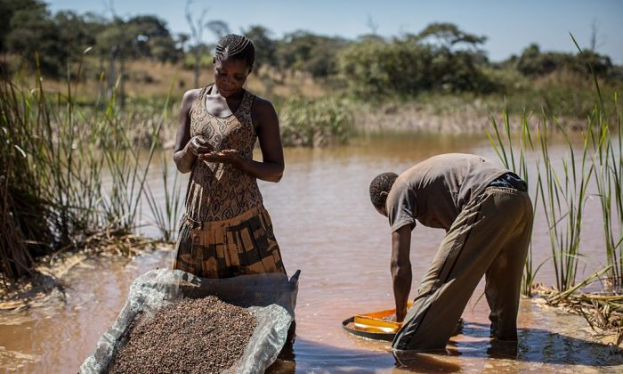 A woman and a man seperate cobalt from mud and rocks near a mine between Lubumbashi and Kolwezi, Democratic Republic of the Congo, on May 31, 2015. (Federico Scoppa/AFP/Getty Images)