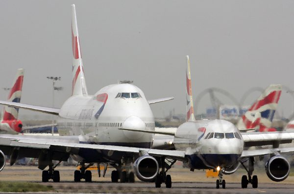 Planes queue up for take off at London's Heathrow airport. (Odd Anderson/AFP/Getty Images)