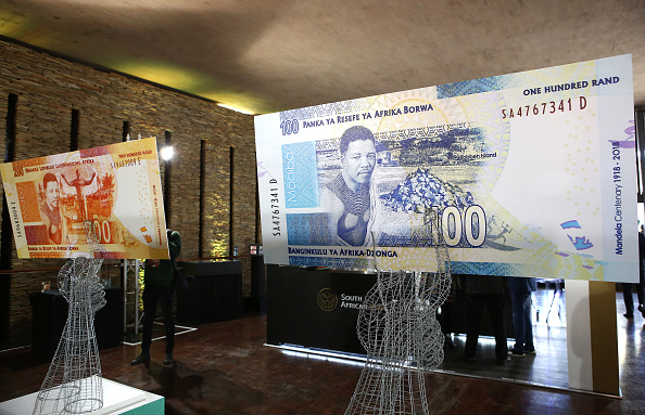 Large banknotes at the value of two hundred and one hundred South African Rand depicting former South African president Nelson Mandela are on display on July 13, 2018 in Pretoria, South Africa. (PHILL MAGAKOE/AFP/Getty Images)