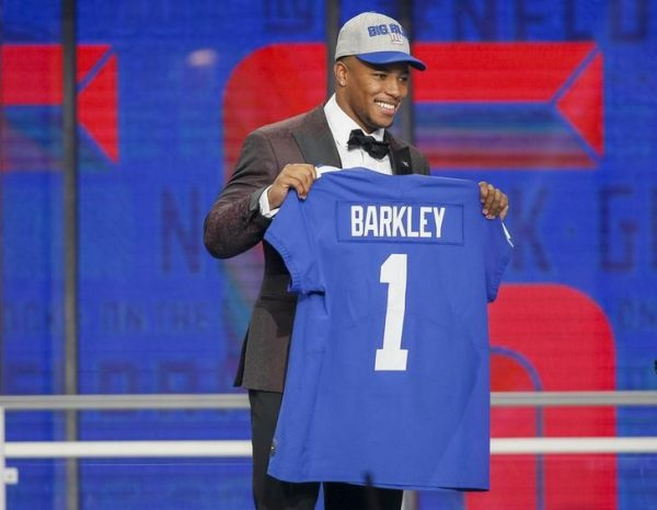 Saquon Barkley is selected as the number two overall pick to the New York Giants in the first round of the 2018 NFL Draft.