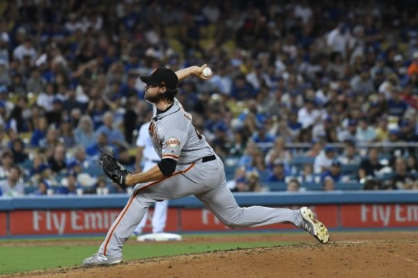 San Francisco Giants relief pitcher Ray Black throws a pitch during the eighth inning against the Los Angeles Dodgers at Dodger Stadium.