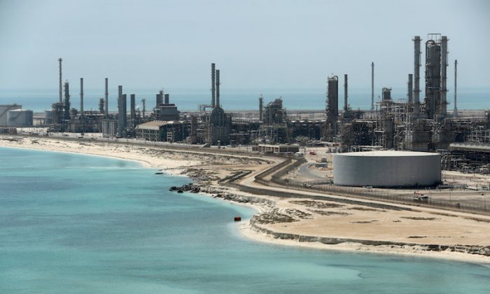 General view of Saudi Aramco's Ras Tanura oil refinery and oil terminal in Ras Tanura, Saudi Arabia, on May 21, 2018. (Ahmed Jadallah/Reuters)