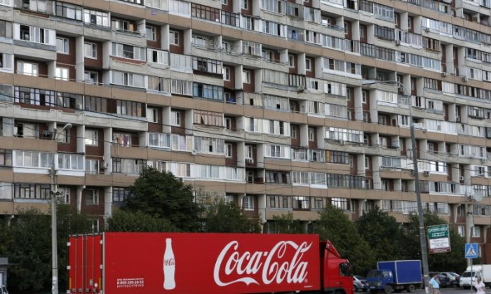 A truck transports bottles from Coca-Cola on the outskirts of Moscow on Aug. 6, 2014.  (Reuters/Maxim Shemetov)