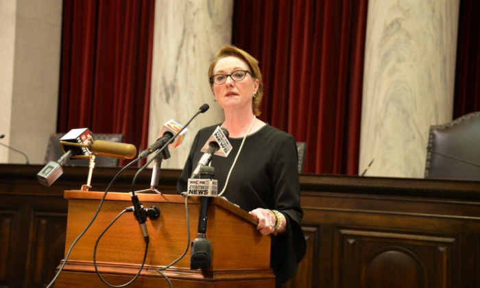Justice Robin Jean Davis at a news conference this morning in the Supreme Court announcing her retirement from the Court. (Jennifer Bundy/The West Virginia Judiciary)