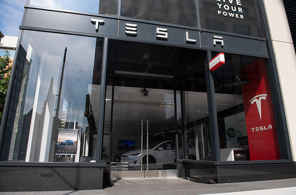 A Tesla showroom is seen in Washington, DC, on Aug. 8, 2018. (SAUL LOEB/AFP/Getty Images)
