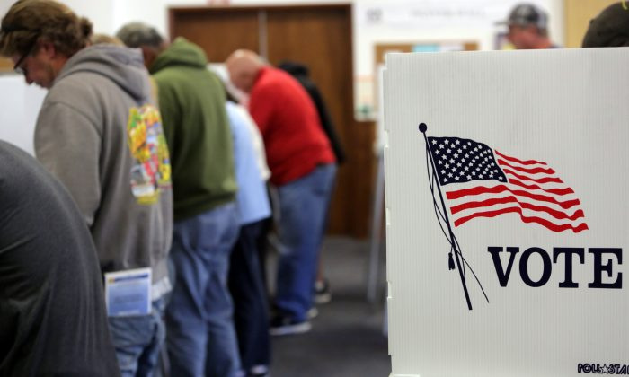 Voters cast ballots at a polling station at the Big Bear Lake Methodist Church in Big Bear, California, Nov. 8, 2016. (Bill Wechter/AFP/Getty Images)