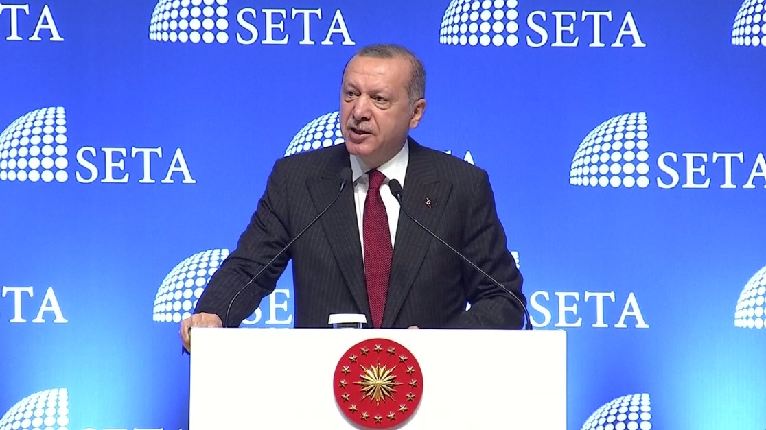 Turkish president Tayyip Erdogan told an assembly of politicians in Ankara on August 14 that Turkey will boycott US electronic products. (Turkish Presidency Pool via Reuters)