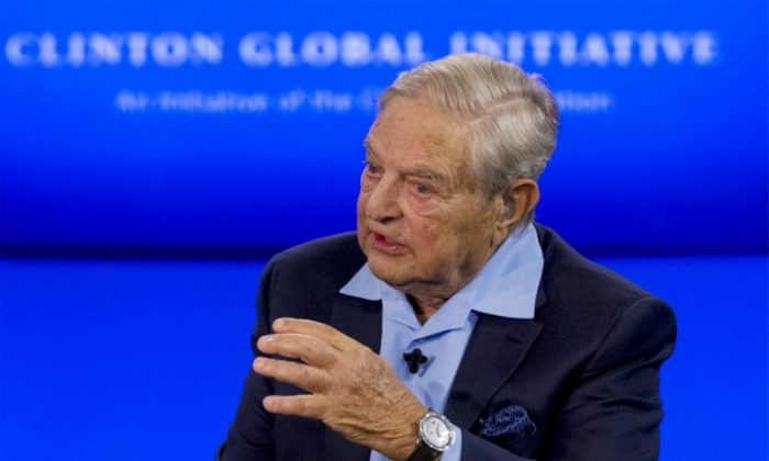 Billionaire hedge fund manager George Soros speaks during a discussion at the Clinton Global Initiative's annual meeting in New York, Sept. 27, 2015.  (Reuters/Brendan McDermid)