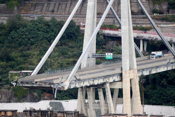 The collapsed bridge in Genoa, Italy