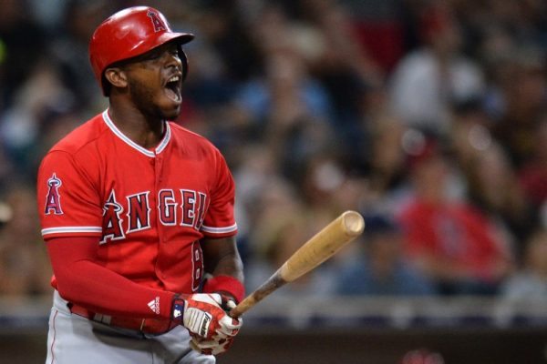 Los Angeles Angels left fielder Justin Upton reacts after popping out in the third inning against the San Diego Padres.