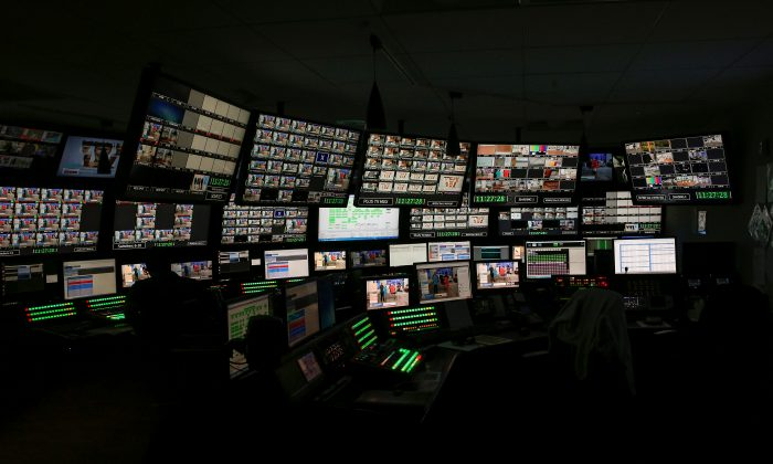 Producers work in a control room at the QVC Studio Park in West Chester, Pennsylvania, U.S., June 4, 2018. Picture taken June 4, 2018