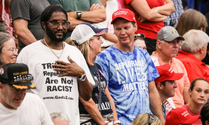 Audience members at a Make America Great Again rally in Lewis Center, Ohio, on Aug. 4, 2018. (Charlotte Cuthbertson/The Epoch Times)
