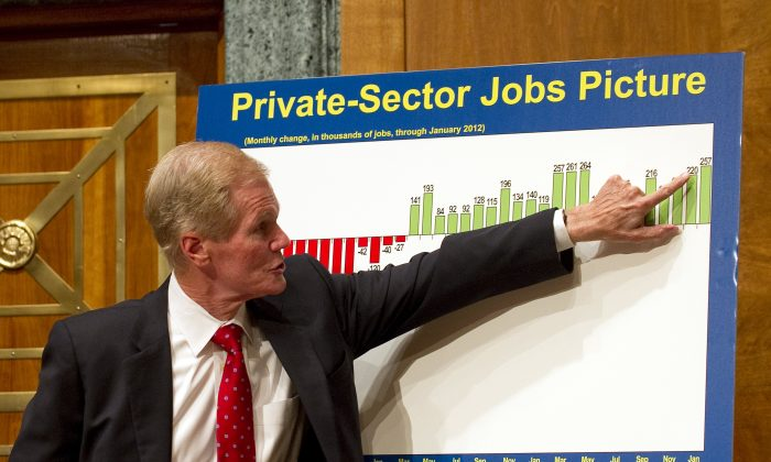 Senator Bill Nelson (D-Fla.) on Capitol Hill in Washington on Feb. 7, 2012. Nelson is running for a third term. (Jim Watson/AFP/Getty Images)