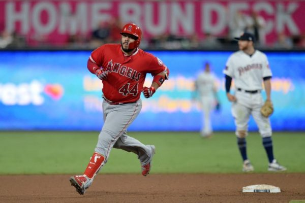 Los Angeles Angels catcher Rene Rivera rounds the bases on a solo home run against the San Diego Padres.