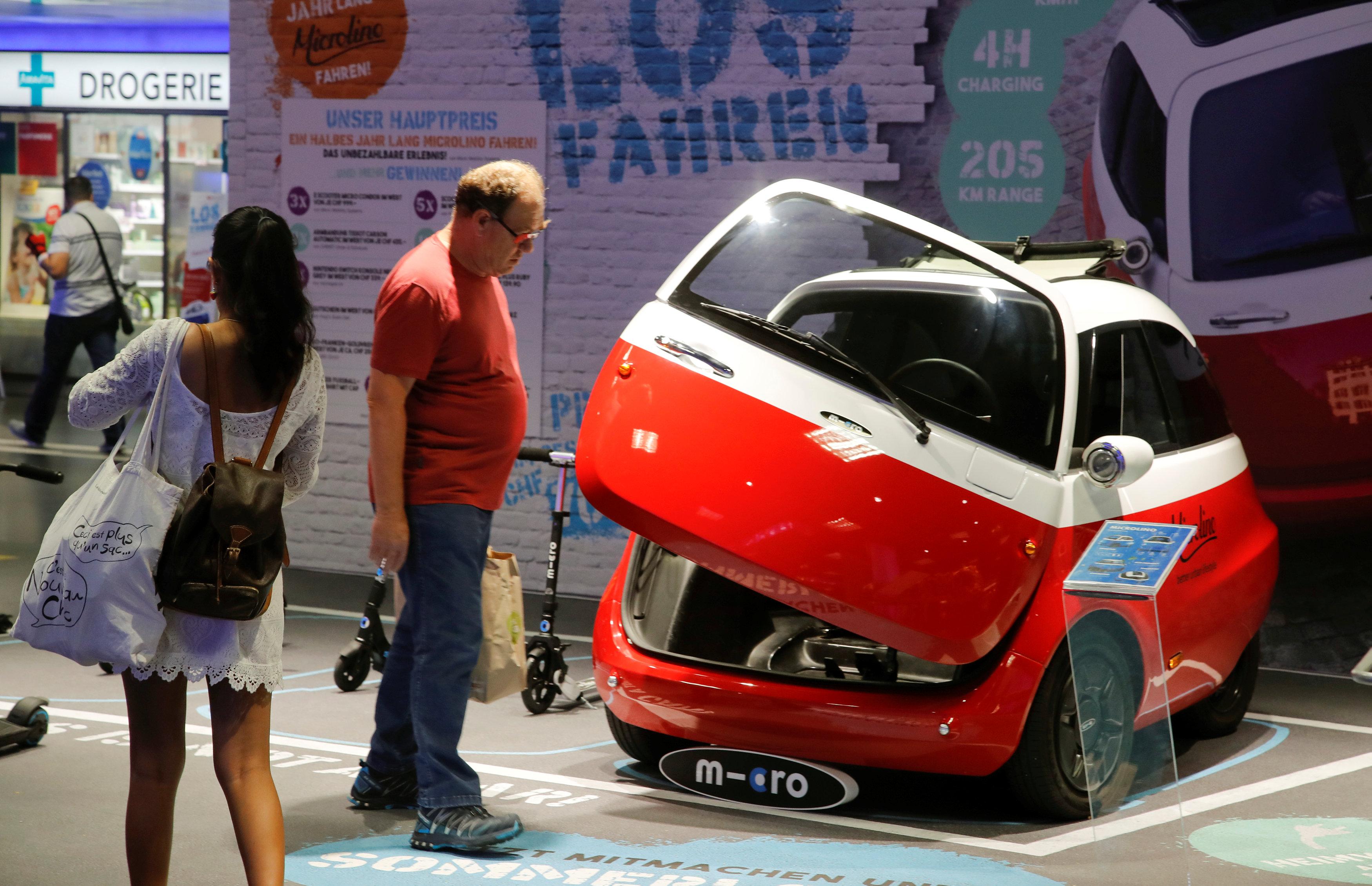 An electric-powered Microlino car built by Swiss Microlino AG.