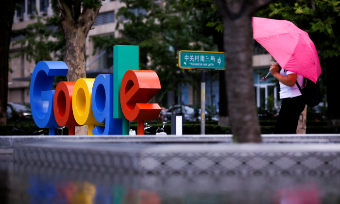 The brand logo of Alphabet Inc's Google is seen outside its office in Beijing, China, August 8, 2018.  REUTERS/Thomas Peter