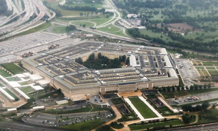 An aerial view of the Pentagon in Arlington, Va., on Aug. 12, 2018. (Charlotte Cuthbertson/The Epoch Times)