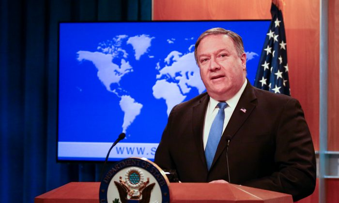 Secretary of State Mike Pompeo speaks at a press briefing at the State Department in Washington, on Aug. 16, 2018. (Charlotte Cuthbertson/The Epoch Times)