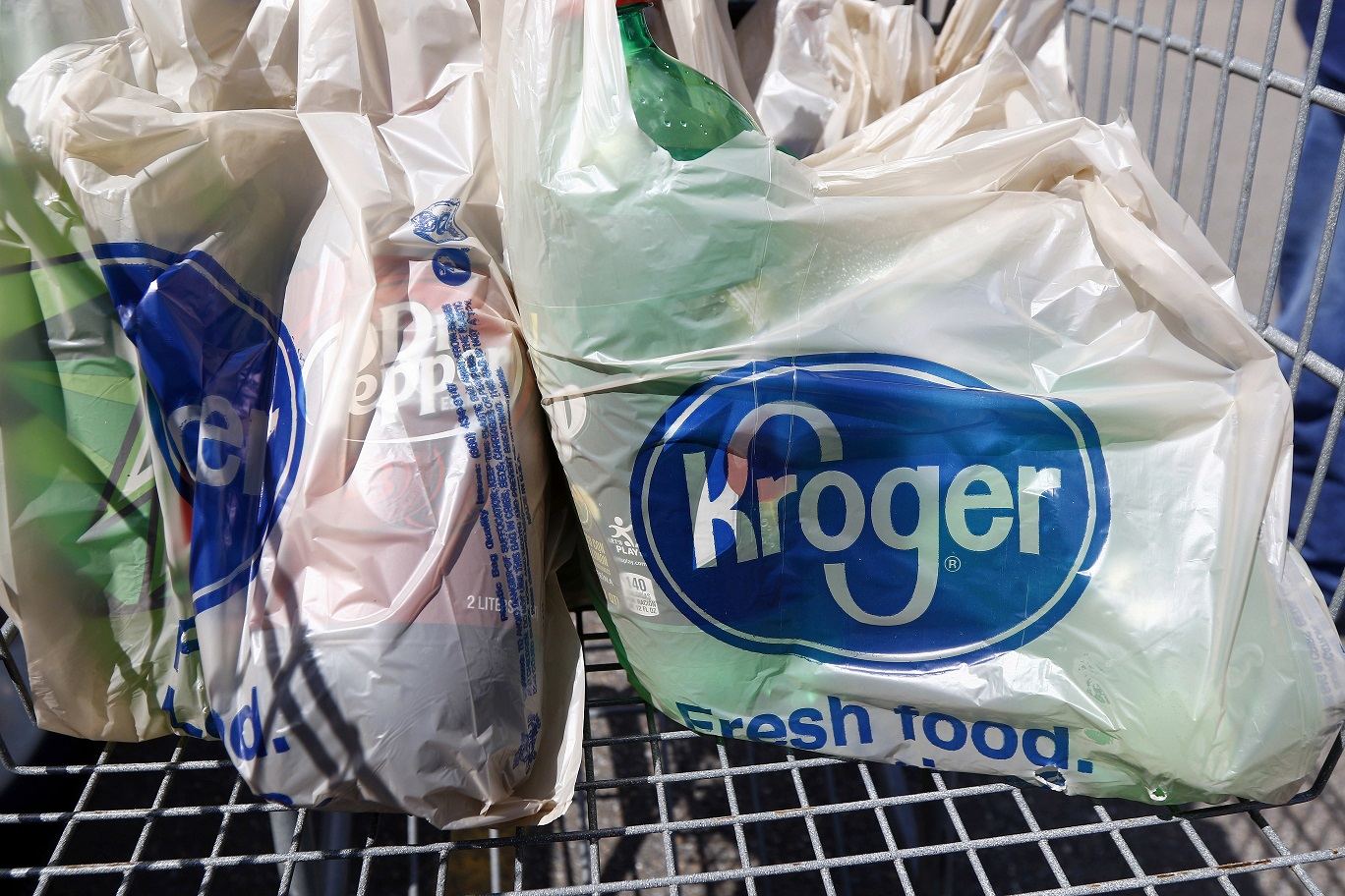 Bagged purchases from the Kroger grocery store.