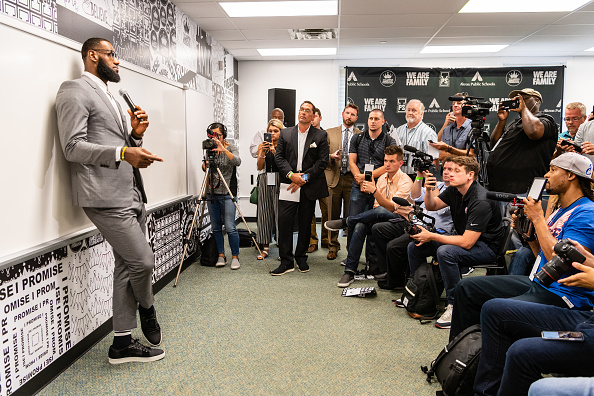 LeBron James addresses the media after the opening ceremonies of the I Promise School on July 30, 2018 in Akron, Ohio. (Jason Miller/Getty Images)