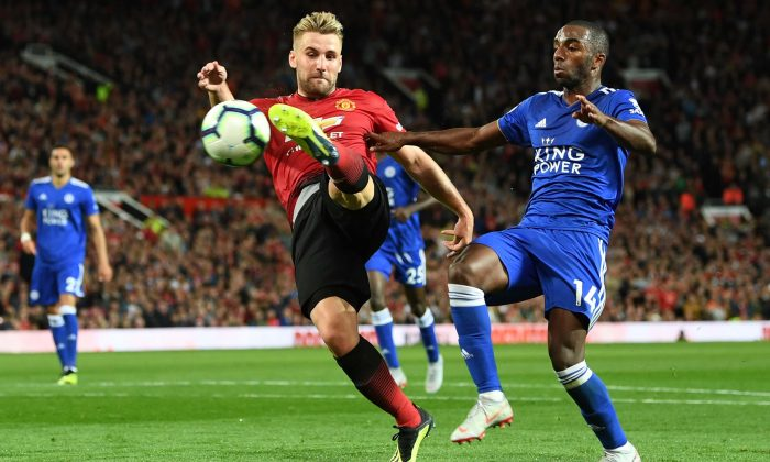 Luke Shaw of Manchester United scores his team's second goal during the Premier League match between Manchester United and Leicester City at Old Trafford on August 10. Manchester United won 2-1. (Michael Regan/Getty Images)