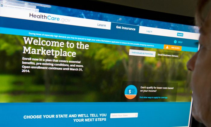 A woman reads the HealthCare.gov insurance marketplace  website on Dec. 2, 2013, in Washington, D.C. (KAREN BLEIER/AFP/Getty Images)